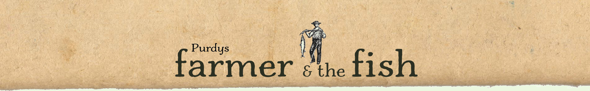 Farmer and the Fish logo on antique paper background