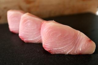 Uncooked fish steaks