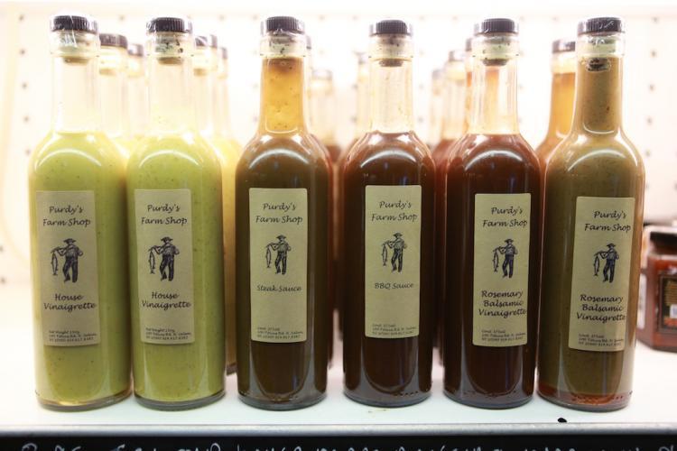 Sauces for sale at Purdy's farm Shop